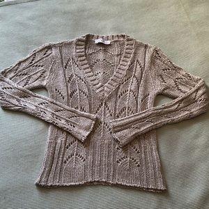 Zara Knit V Neck Sweater Silver